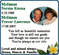 McInnes Norma Emma 3.10.1988 McInnes Trevor Lawrence 17.09.2007 You left us beautiful memories Your...