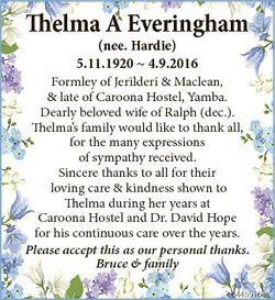 Thelma A Everingham (nee. Hardie) 5.11.1920  4.9.2016 Formley of Jerilderi & Maclean, & late...