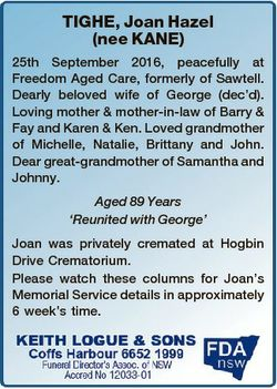 TIGHE, Joan Hazel (nee KANE) 25th September 2016, peacefully at Freedom Aged Care, formerly of Sawte...