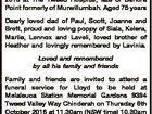 ROBSON Lloyd William Passed away peacefully on 28th September 2016 at The Tweed Hospital, late of Banora Point formerly of Murwillumbah. Aged 75 years Dearly loved dad of Paul, Scott, Joanne and Brett, proud and loving poppy of Siala, Kelera, Marlie, Lennox and Laveli, loved brother of Heather and lovingly ...