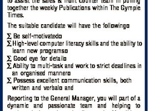 [Opportunities with APN] MEDIA SALES SUPPORT The Gympie Times The Gympie Times is seeking a Media Sales Support to assist the sales & front counter team in pulling together the weekly Publications within The Gympie Times. The suitable candidate will have the following  Be self-motivated  High-level computer literacy skills and the ...