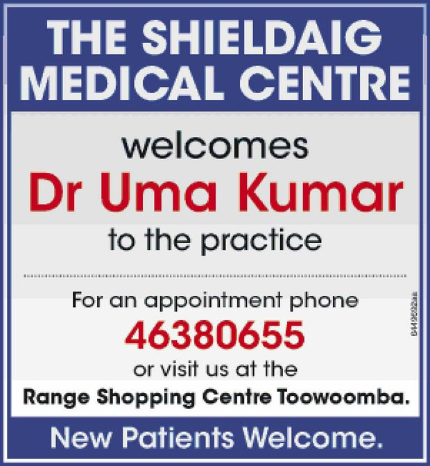 welcomes    Dr Uma Kumar    to the practice.   For an appointment phone 463806...