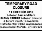 TEMPORARY ROAD CLOSURE