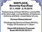 WHITLOCK, Beverley Kay (Kay)