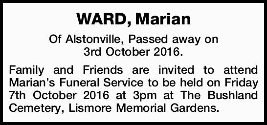 Of Alstonville, Passed away on 3rd October 2016.