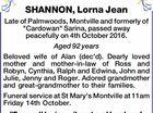 SHANNON, Lorna Jean