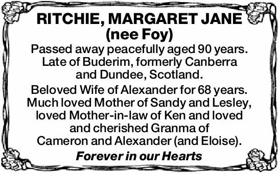 Passed away peacefully aged 90 years.