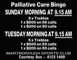 SUNDAY MORNING AT 9.15AM   5 x Trebles 1 x $500 on 56 calls 1 x $200 on 50 calls   ...