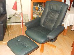 footstool, swivel base, clean gc, soft blue leather feel