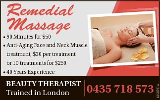 Remedial Massage Beauty therapist   Trained in London 0435 718 573   * 90 Minutes for $50...