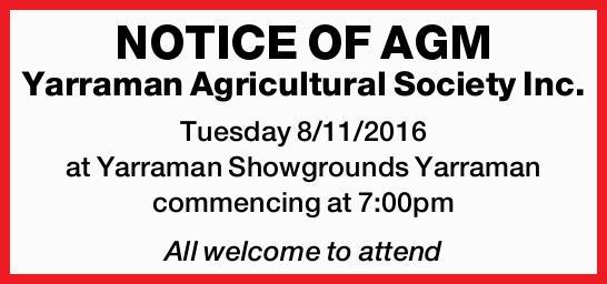 Yarraman Agricultural Society Inc. Tuesday 8/11/2016 at Yarraman Showgrounds Yarraman commencing...