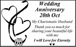 Wedding Anniversary 20th Oct My Charismatic Husband Thank you so much for sharing your beautiful...
