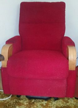 electric operated, with battery back up. Red fabric upholstery with timber trim.  Cost $1000 less th...