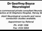 Dr Geoffrey Boyce - Neurologist