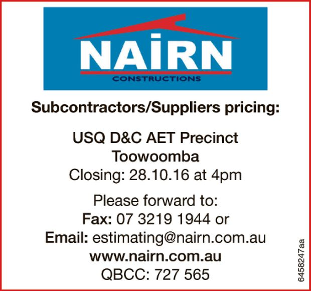 Subcontractors/Suppliers pricing: