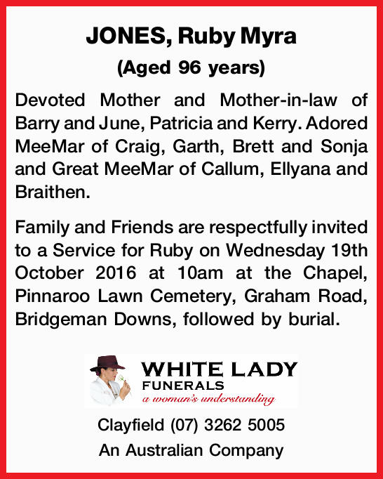 (Aged 96 years)   Devoted Mother and Mother-in-law of Barry and June, Patricia and Kerry. Ado...