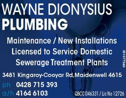 WAYNE DIONYSIUS PLUMBING 3168839ab 5515775ab Maintenance / New Installations Licensed to Service Dom...