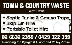 TOWN & COUNTRY WASTE Geoff Davis 3985339ABHC * Septic Tanks & Grease Traps * Skip Bin Hire *...
