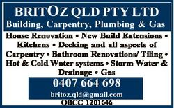 BRITOZ QLD PTY LTD Building, Carpentry, Plumbing & Gas House Renovation * New Build Extensions *...