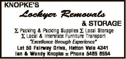 KNOPKE'S Lockyer Removals & STORAGE  Packing & Packing Supplies  Local Storage  Local &a...