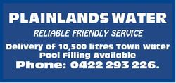 PLAINLANDS WATER RELIABLE FRIENDLY SERVICE Delivery of 10,500 litres Town water Pool Filling Availab...