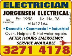 JORGENSEN ELECTRICAL Est. 1958 Lic. No. 96 AU#17164 * Domestic * Commercial * Industrial Oven, Hotpl...
