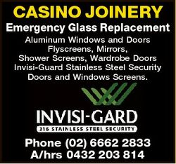 CASINO JOINERY Emergency Glass Replacement Aluminum Windows and Doors Flyscreens, Mirrors, Shower Sc...