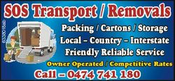 6338018ab SOS Transport / Removals Packing / Cartons / Storage Local - Country - Interstate Friendly...