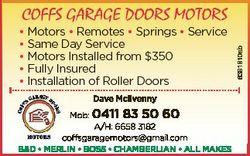 Dave Mcilvenny Mob: 0411 83 50 60 A/H: 6658 3182 coffsgaragemotors@gmail.com B&D * MERLIN * BOSS...