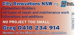 City Renovations NSW p/l 6421477aa Greg 0418 234 914 Member of the Master Builders Association BL: 2...