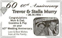 60 th Anniversary  20.10.1956  Congratulations Mum & Dad, Grandma & Pop on your 60th Wedding...