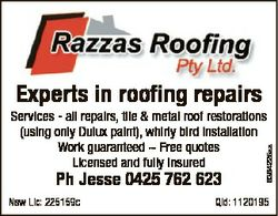 Experts in roofing repairs Ph Jesse 0425 762 623 Nsw Lic: 225159c 6364225aa Services - all repairs,...