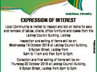 Lockyer Valley Regional Council EXPRESSION OF INTEREST Inspection and selling of items will be on: Wednesday 19 October 2016 at Laidley Council Building, 9 Spicer Street, Laidley from 9am to 11am and then 2pm to 5pm. Collection and final selling of items will be on: Thursday 20 October 2016 at ...
