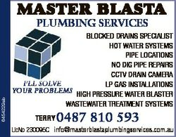 MASTER BLASTA 6454229ab PLUMBING SERVICES BLOCKED DRAINS SPECIALIST HOT WATER SYSTEMS PIPE LOCATIONS...