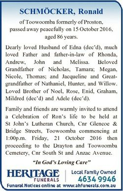 CKER, Ronald SCHMO of Toowoomba formerly of Proston, passed away peacefully on 15 October 2016, aged...
