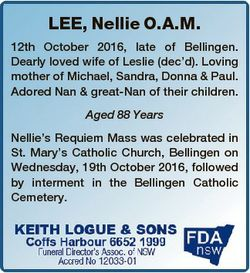 LEE, Nellie O.A.M. 12th October 2016, late of Bellingen. Dearly loved wife of Leslie (dec'd). Lo...