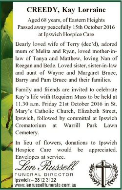 CREEDY, Kay Lorraine Aged 68 years, of Eastern Heights Passed away peacefully 15th October 2016 at I...