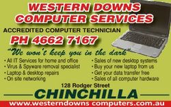 "Western doWns computer services accredited computer technician pH 4662 7167 ""We won'tt keep..."