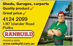 Sheds, Garages, carports Quality product Great price 4124 2099 request a quote www.ranbuild.com.au 6...