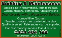 Building & Maintenance Specialising in Renovations, Termite Repairs, General Repairs, Bathrooms,...