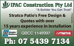 "Ipac construction pty Ltd ""A Builder You Can Trust"" 6450933aa Stratco Patio's Free Des..."