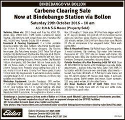 BINDEBANGO VIA BOLLON Carbene Clearing Sale Now at Bindebango Station via Bollon Saturday 29th Octob...