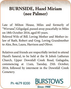 """(nee Palmer)   Late of Milton House, Miles and formerly of """"Wirruna"""", Giligulgul,..."""