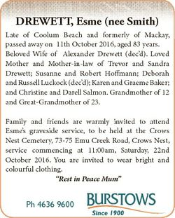 DREWETT, Esme (nee Smith) Late of Coolum Beach and formerly of Mackay, passed away on 11th October 2...