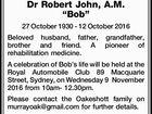 """OAKESHOTT, Dr Robert John, A.M. """"Bob"""""""
