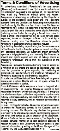 Terms & Conditions of Advertising All advertising submitted (`Advertising') by any person (`...