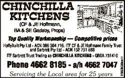 CHINCHILLA KITCHENS (CF & JE Hoffmann, BA & SE Gadsby, Props) Top Quality Workmanship -- Com...