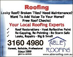 Roofing Leaky Roof? Broken Tiles? Need Maintenance? Want To Add Value To Your Home? Free Roof Checks...