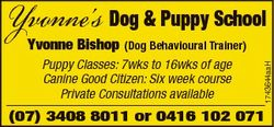 Yvonne's Dog & Puppy School (Dog Behavioural Trainer) Puppy Classes: 7wks to 16wks of age Ca...