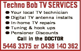 Techno Bob TV SERVICES    Your local TV technician  Digital TV antenna installs  ...